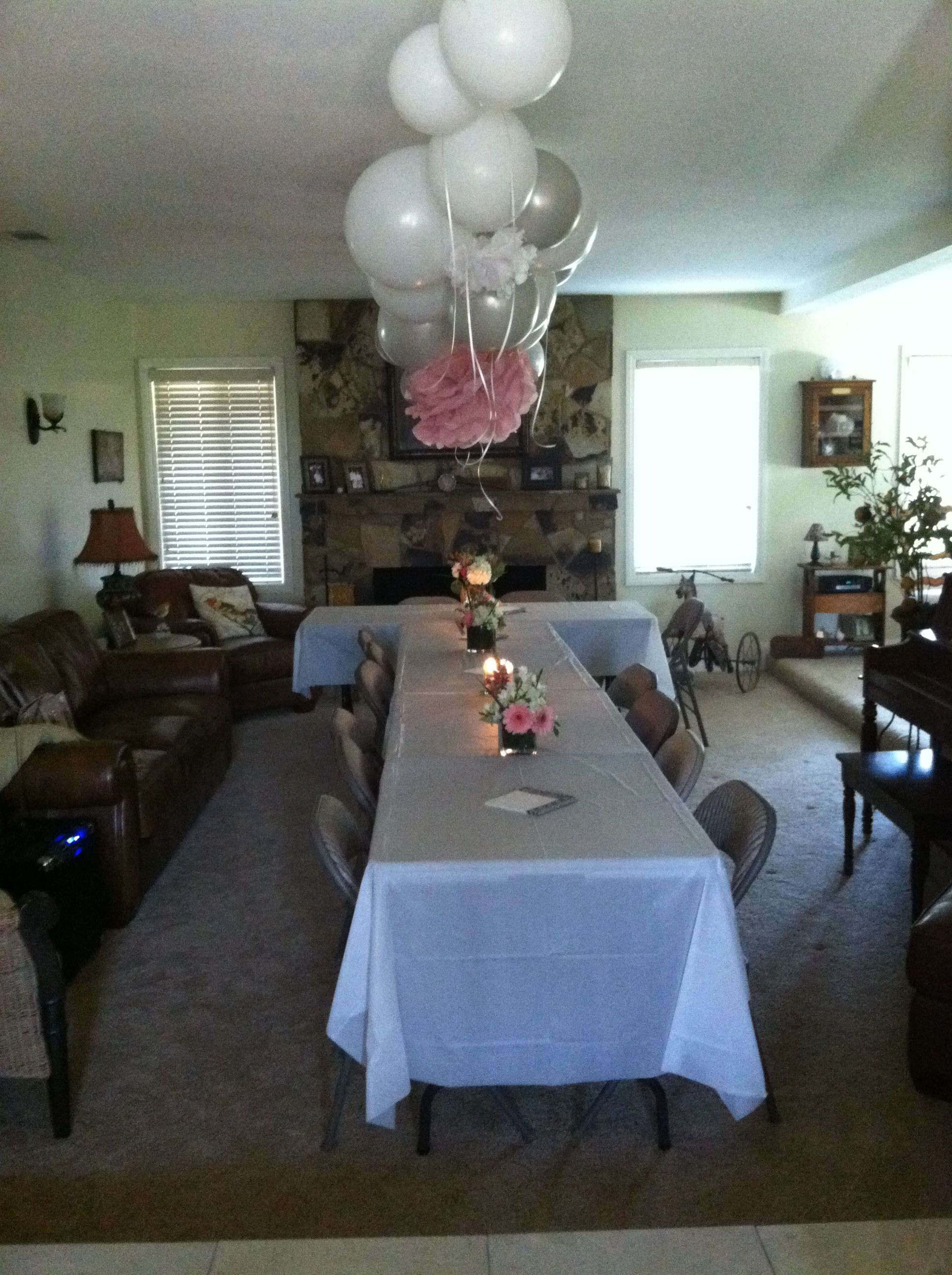 My Parents Surprise Anniversary Party Decor We Set Up The 3 Dinner Tables In A Large Living Room We Were Able To Fit Living Room Sets Room Set Party Seating