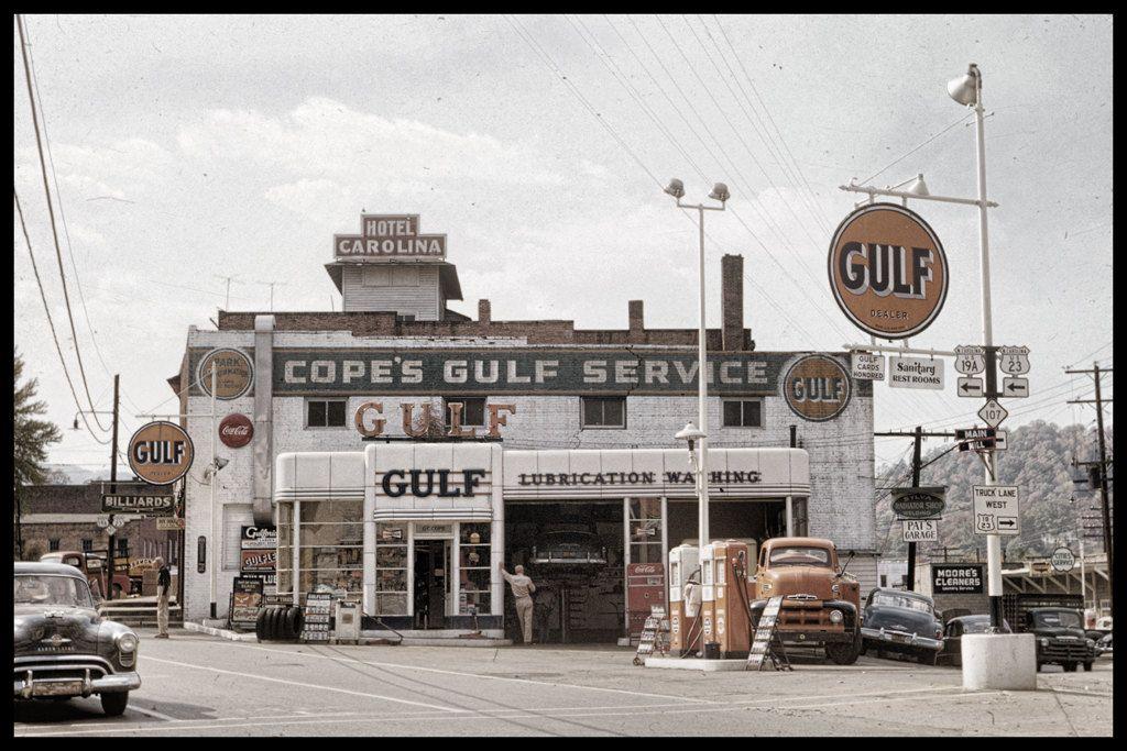 Vintage 50s Gulf Service Station in Sylva, North Carolina, 8x12