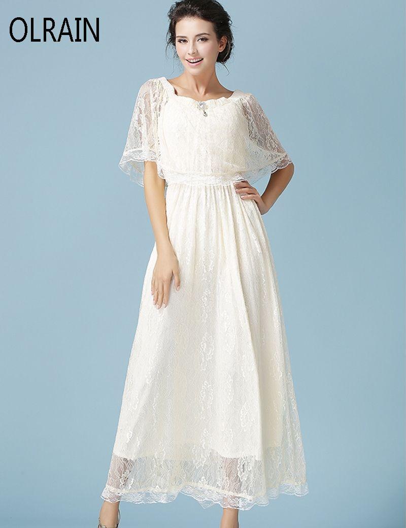 Olrain 2 Style Women Elegant Solid Lace Long Dress Half Sleeve A ...