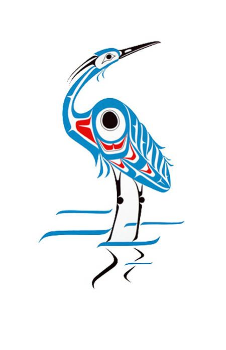 Blue Heron First Nations Drawing From The Northwest Canada