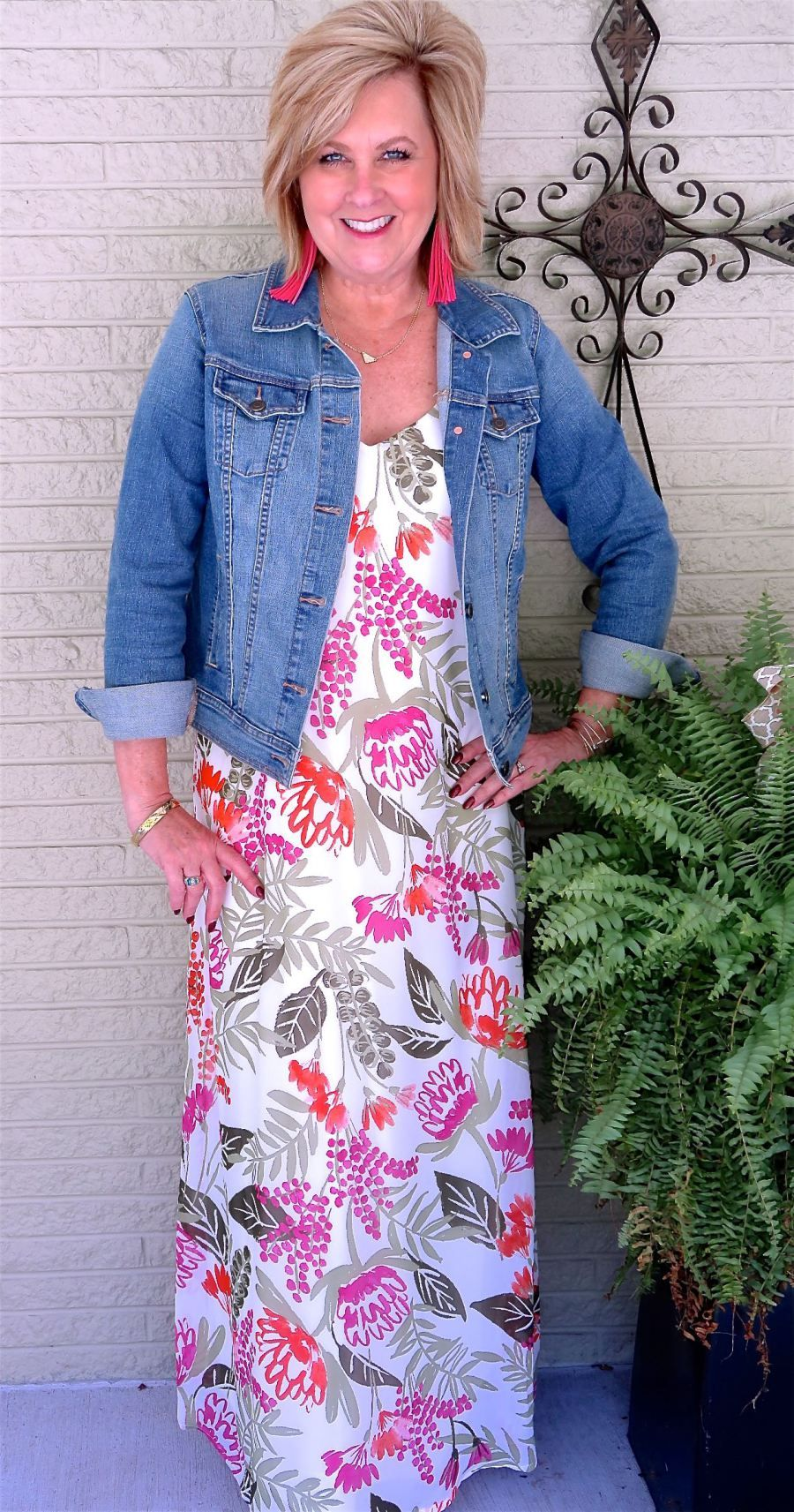 Denim Jacket And A Maxi Dress 50 Is Not Old Maxi Dresses Fall Fall Transition Outfits Womens Fashion Casual Fall [ 1713 x 900 Pixel ]