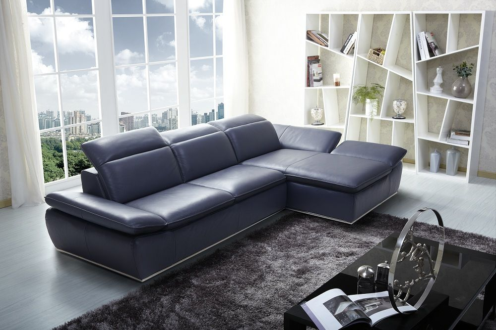 Contemporary Midnight Blue Italian Leather Sectional Sofa Nashville Davidson Tennessee Jm1799 Prime