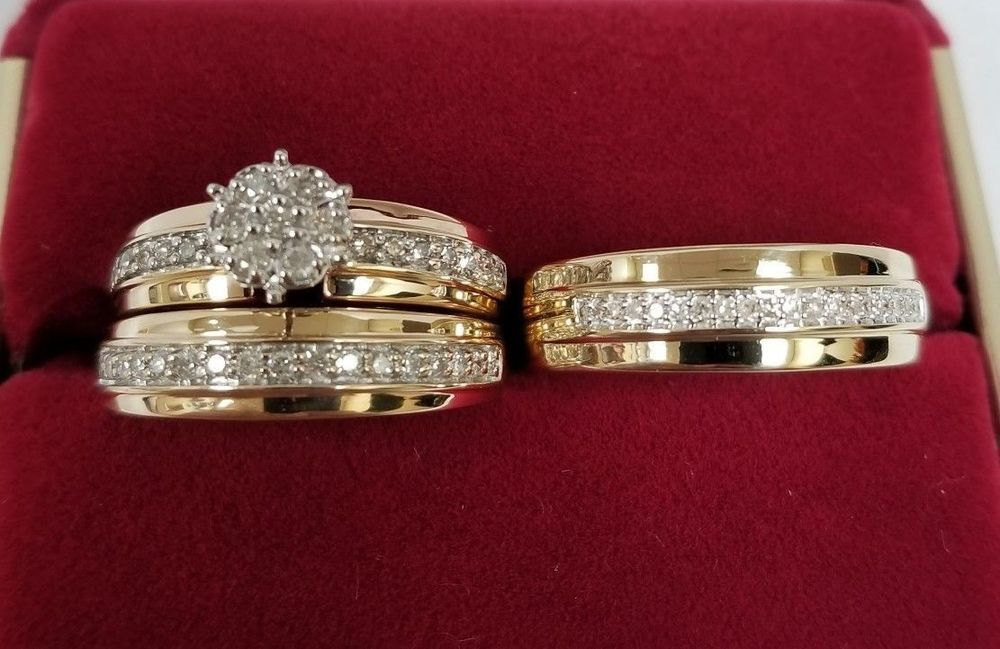 His and Hers Engagement Bridal Wedding Band Trio Ring Set