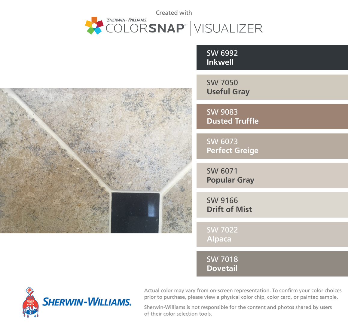 Sherwin williams perfect greige ideas pictures remodel - I Found These Colors With Colorsnap Visualizer For Iphone By Sherwin Williams Inkwell Sw Useful Gray Sw Dusted Truffle Sw Perfect Greige Sw Popular
