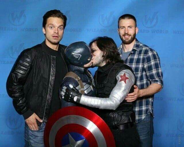 Sebastian Stan and Chris Evans with Two passionate fans