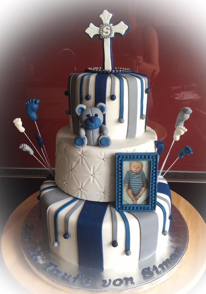 Tauftorte Torte Taufe blau silber wei Christening Cake