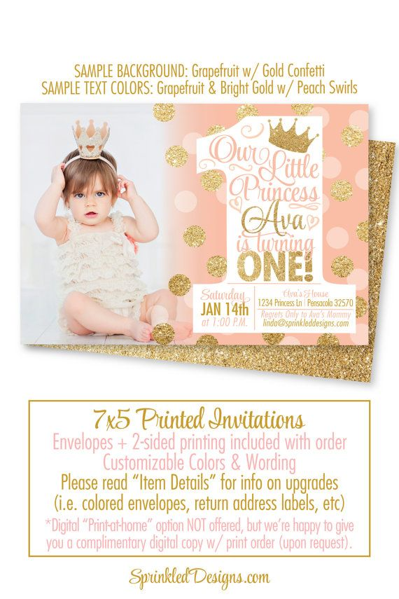 Princess Birthday Invitations Peach Coral Gold Glitter 1st Invitation Photo Card First Girl BIG ONE