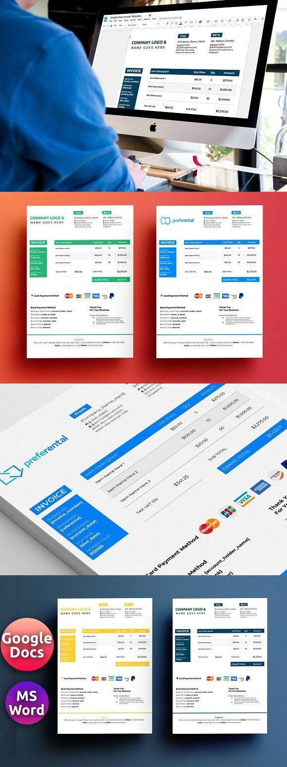 Google Docs Invoice Template Stationery Templates Pinterest