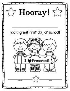 First Day of School Certificate/Award   Worksheets   First ...