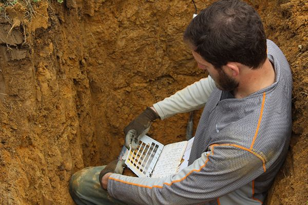 Geologist Bubba Beasley checking soil samples on a wine vineyard - chart samples