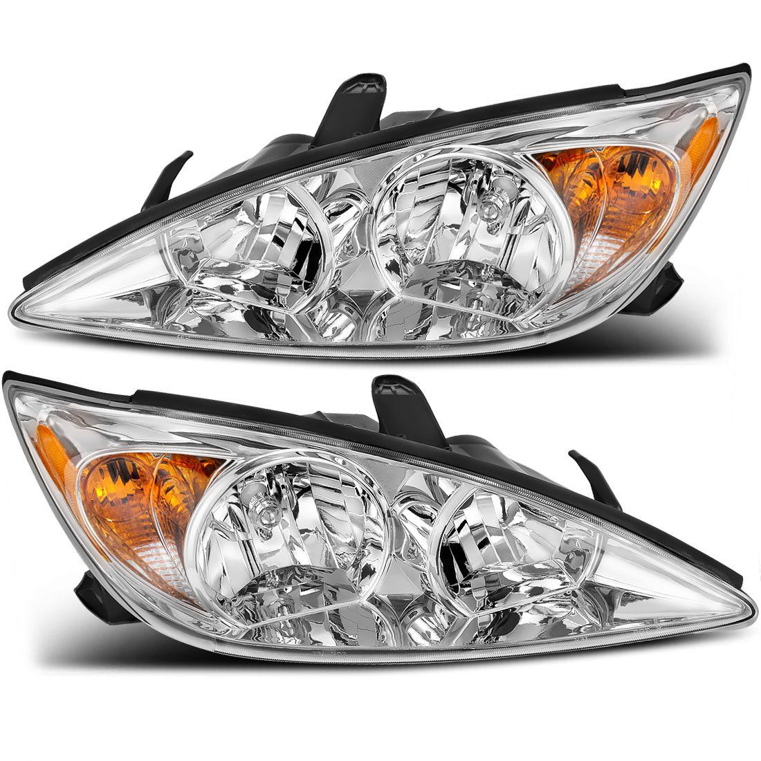 For Toyota Camry 2002 2004 Headlight Assembly Chrome Housing Amber Reflector Clear Lens Driver And Passenger Side Cli Headlight Assembly Camry Headlights
