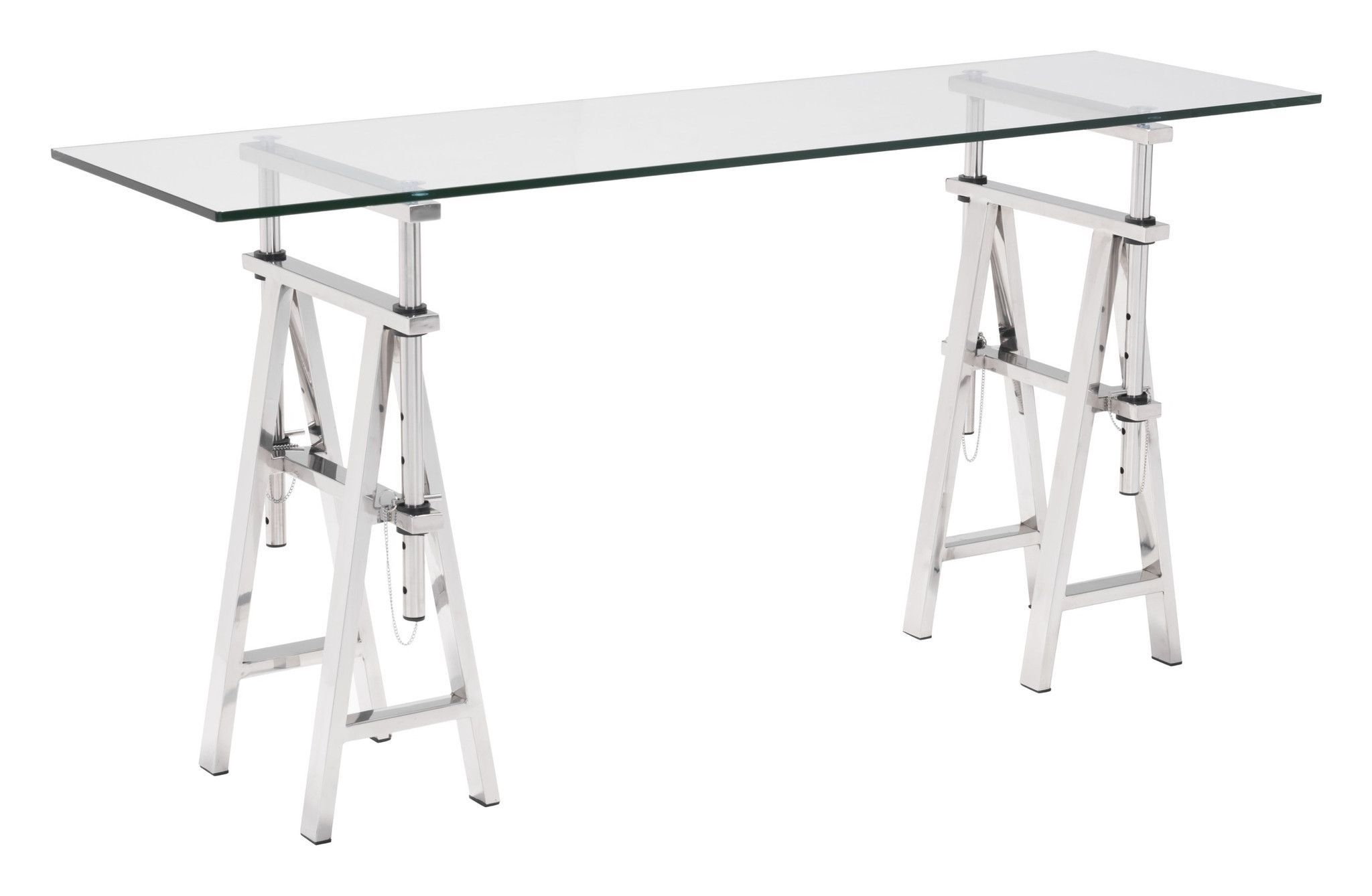 Lado Console Table with Stainless Steel Trestle Legs & Tempered