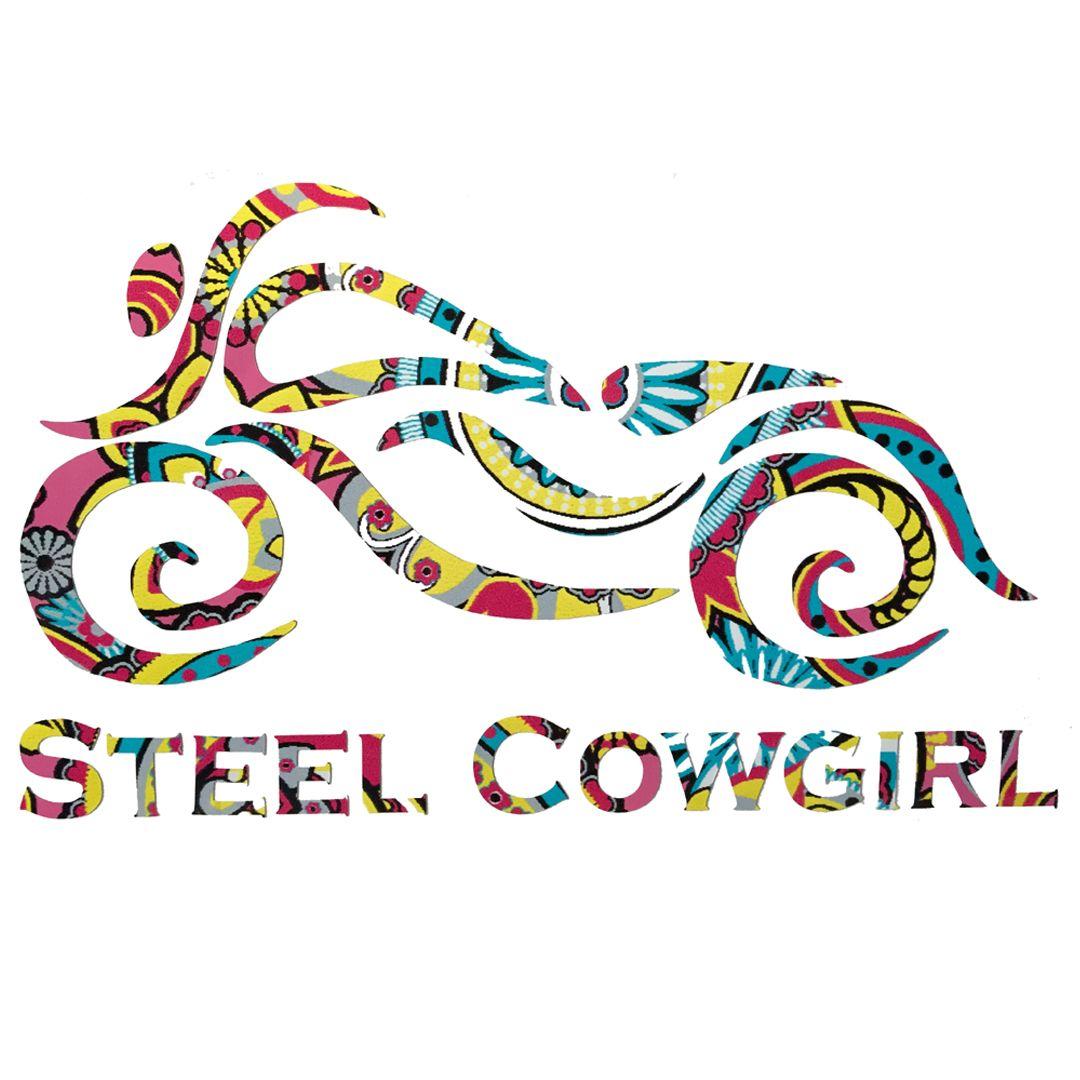 Steel Cowgirl BRIGHT PAISLEY Motorcycle Helmet Decal Sticker - Helmet decals motorcycle womens