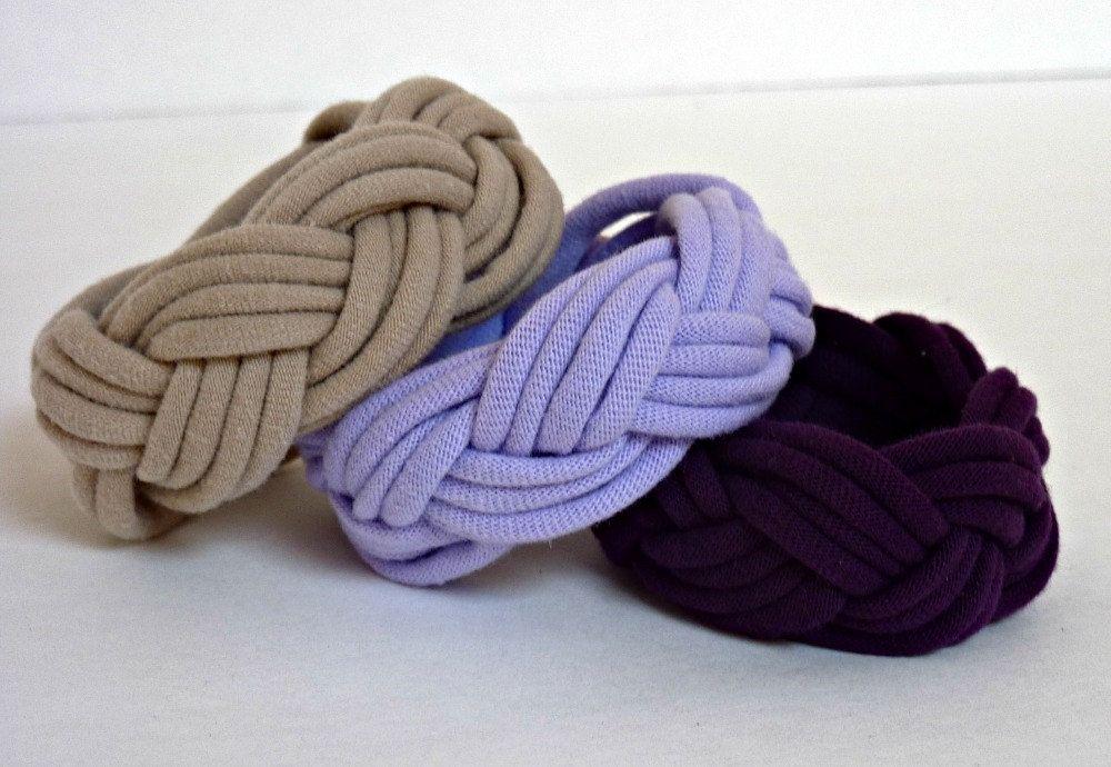 JERSEY FABRIC CUFF Bracelet Tan Violet or Deep Purple. $5.00, via Etsy.