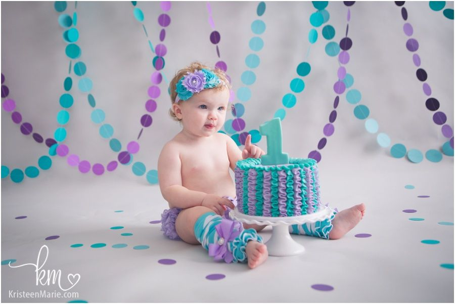 Teal Purple Cake Smash Zionsville Child Photographer Lillys
