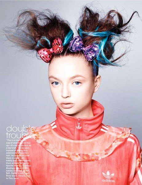texturized pigtails held together by metallic bows by Guido Palau for Teen Vogue
