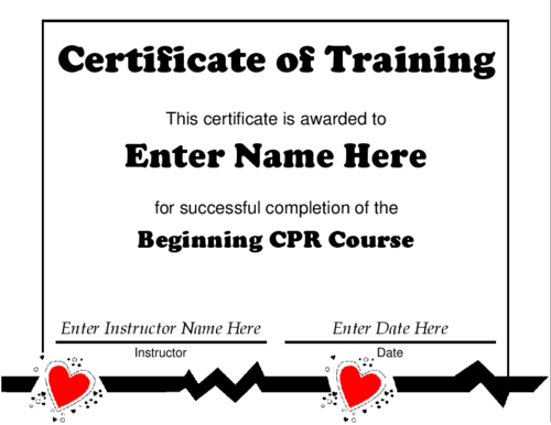 Award Certificate Templates Certificate Of Training Featuring - Cpr card template