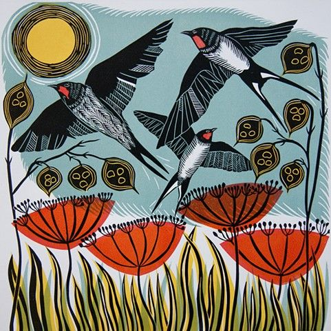 CathyKingPrints - Migration | Linocut art, Linocut prints