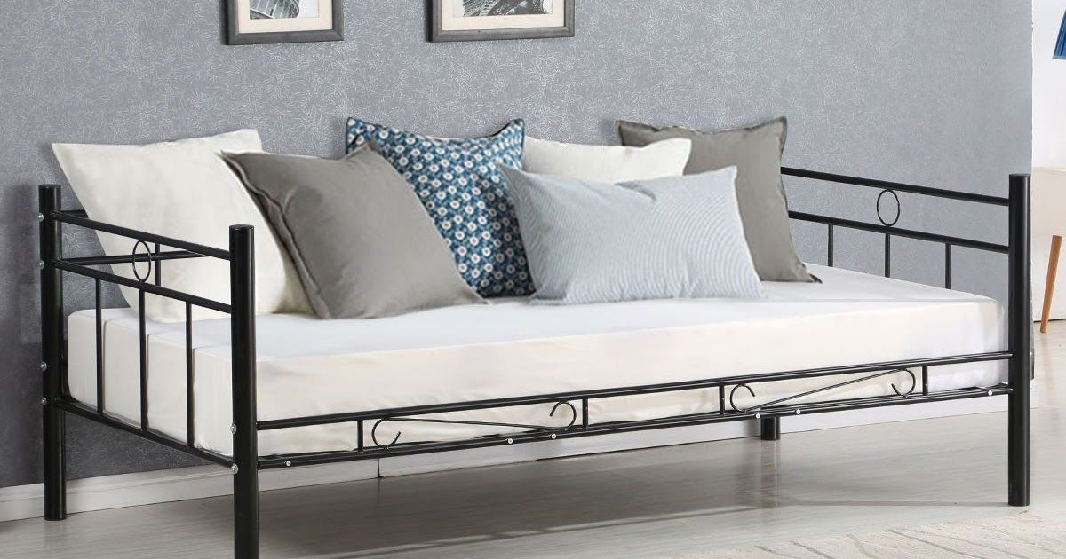 Twin Size Daybed Sofa Bed Bedroom Modern Metal Steel Bed