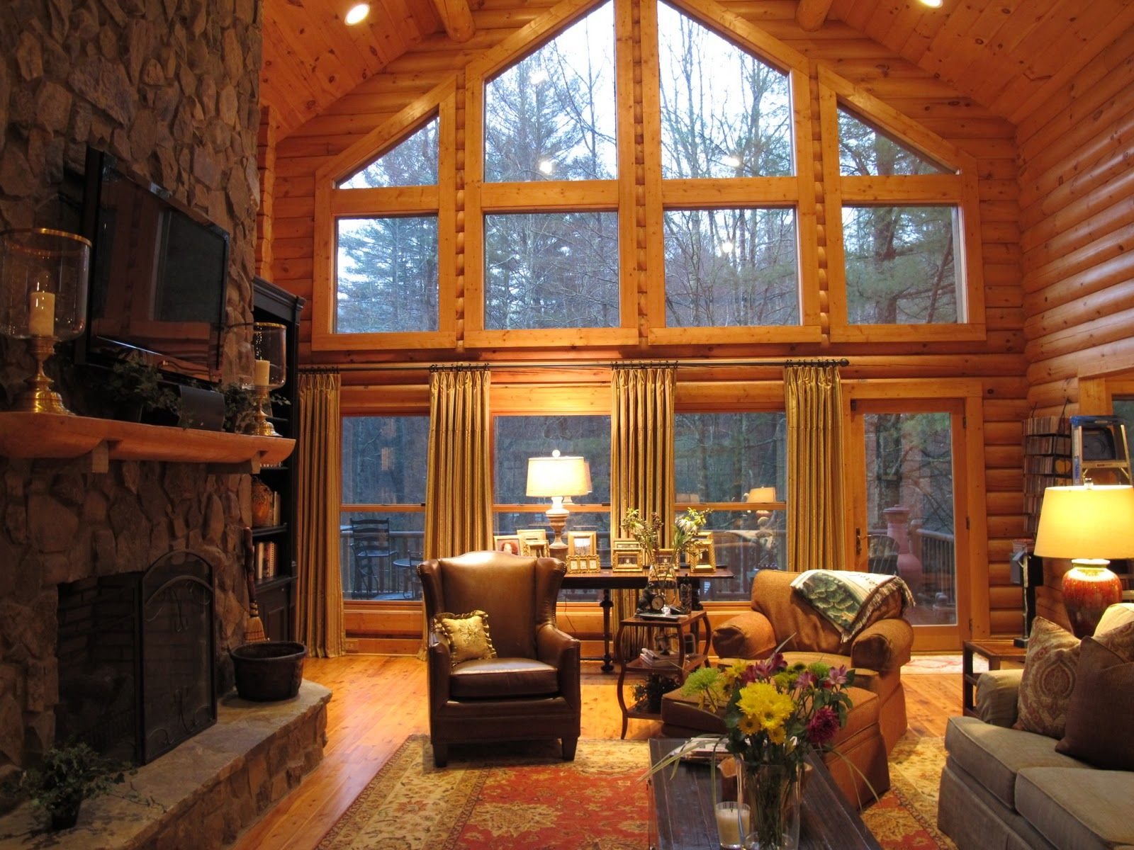 Log Cabin Window | The Side Panels Help Soften The Large Log Cabin Living  Room. Nice Ideas