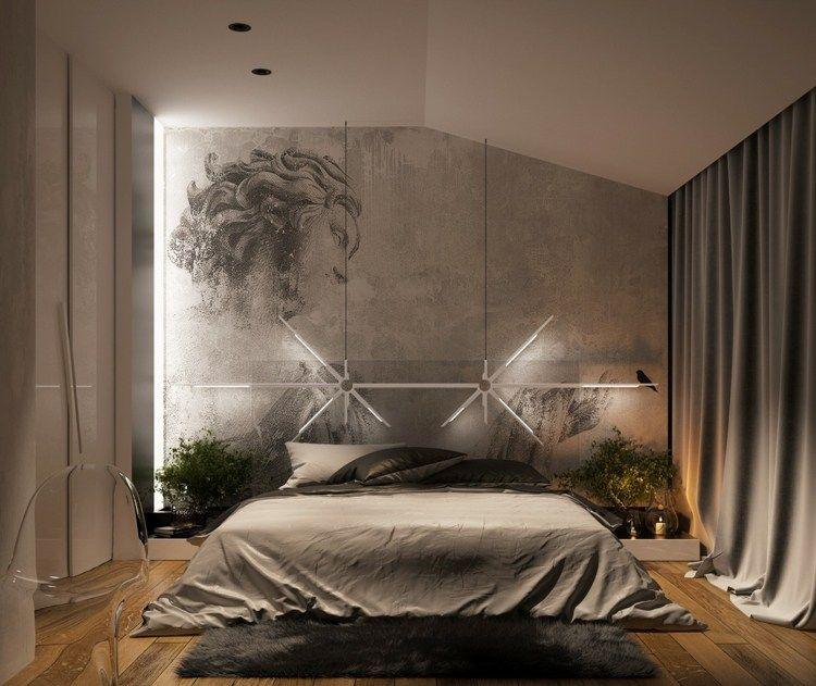 Monochromes Schlafzimmer mit attraktivem Lampen Design 침실