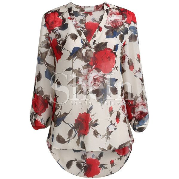 SheIn(sheinside) Apricot Long Sleeve Floral Print Blouse featuring polyvore, women's fashion, clothing, tops, blouses, shirts, sheinside, blusas, apricot, summer blouses, collared shirt, v neck shirts, collared blouse and extra long sleeve shirts