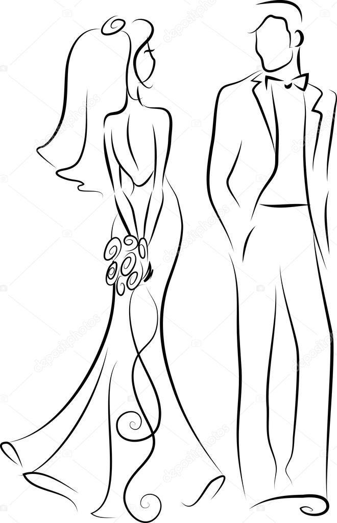 Silhouette De La Mariée Et Le Marié Invitation De Mariage Vector Mariés Dessin Mariage Dessin Invitation Mariage
