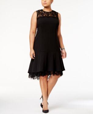 Calvin Klein Plus Size Lace Trim A Line Dress Black 16W