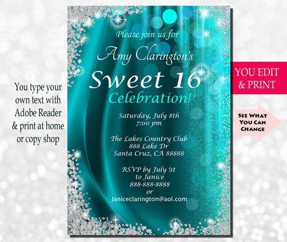 Sweet Sixteen Invitation, Sweet Sixteen Party Invitation, Sweet 16 Invitation, Sweet 16 Birthday Invitation, Sweet 16 Party, You Edit PDF #sweet16birthdayparty