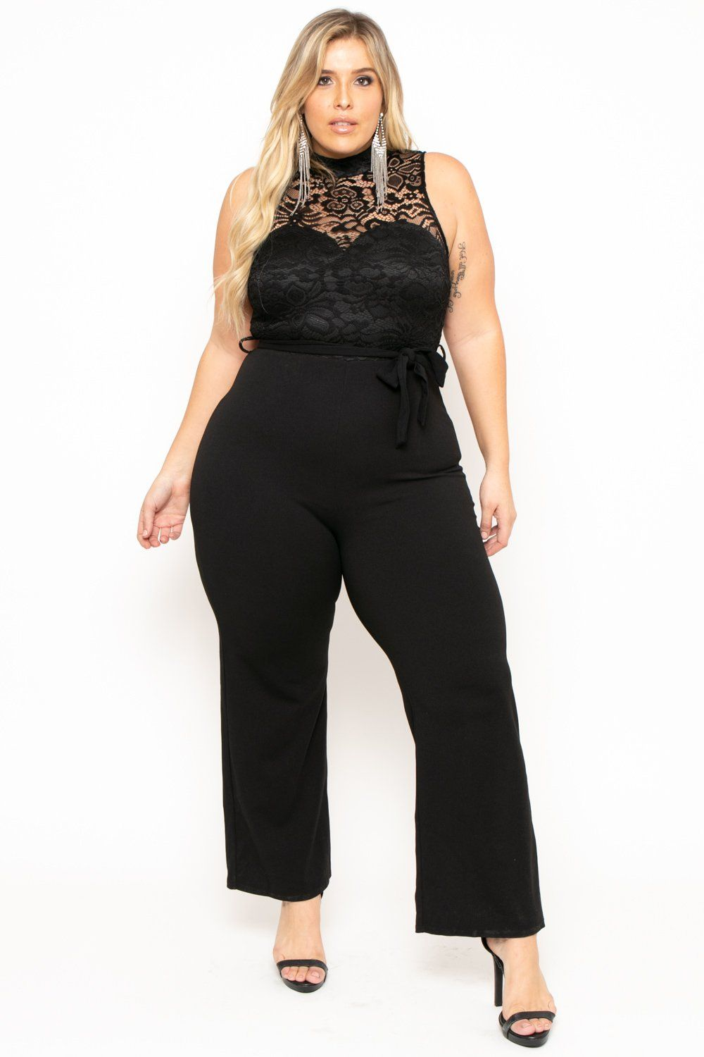 ec9ffb3fb68 Plus Size Mock Neck Lace Top Jumpsuit - Black – Curvy Sense