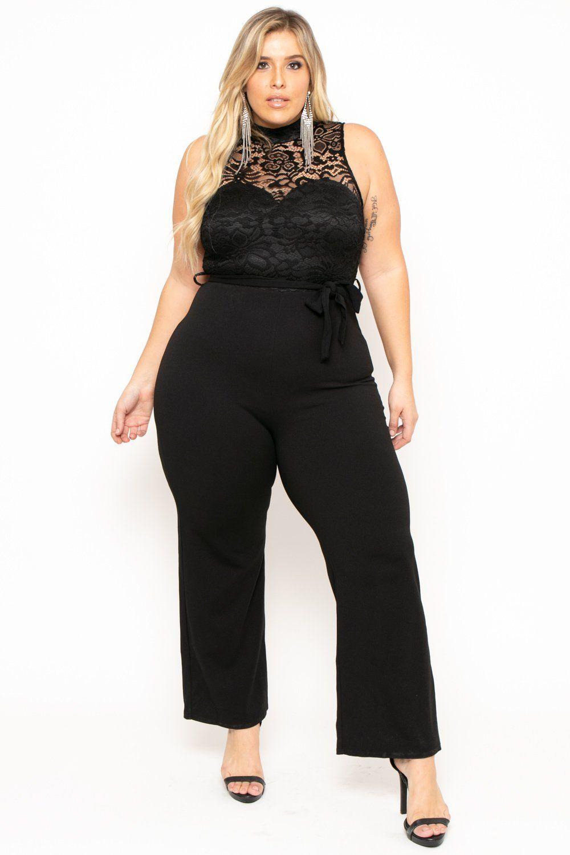 Plus Size Mock Neck Lace Top Jumpsuit - Black – Curvy Sense  e1019a183