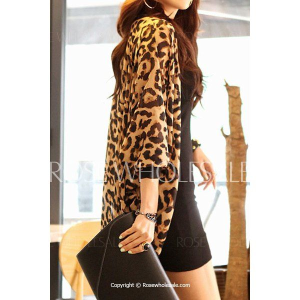 Stylish Leopard Print 3/4 Sleeve Chiffon Cardigan For Women ...