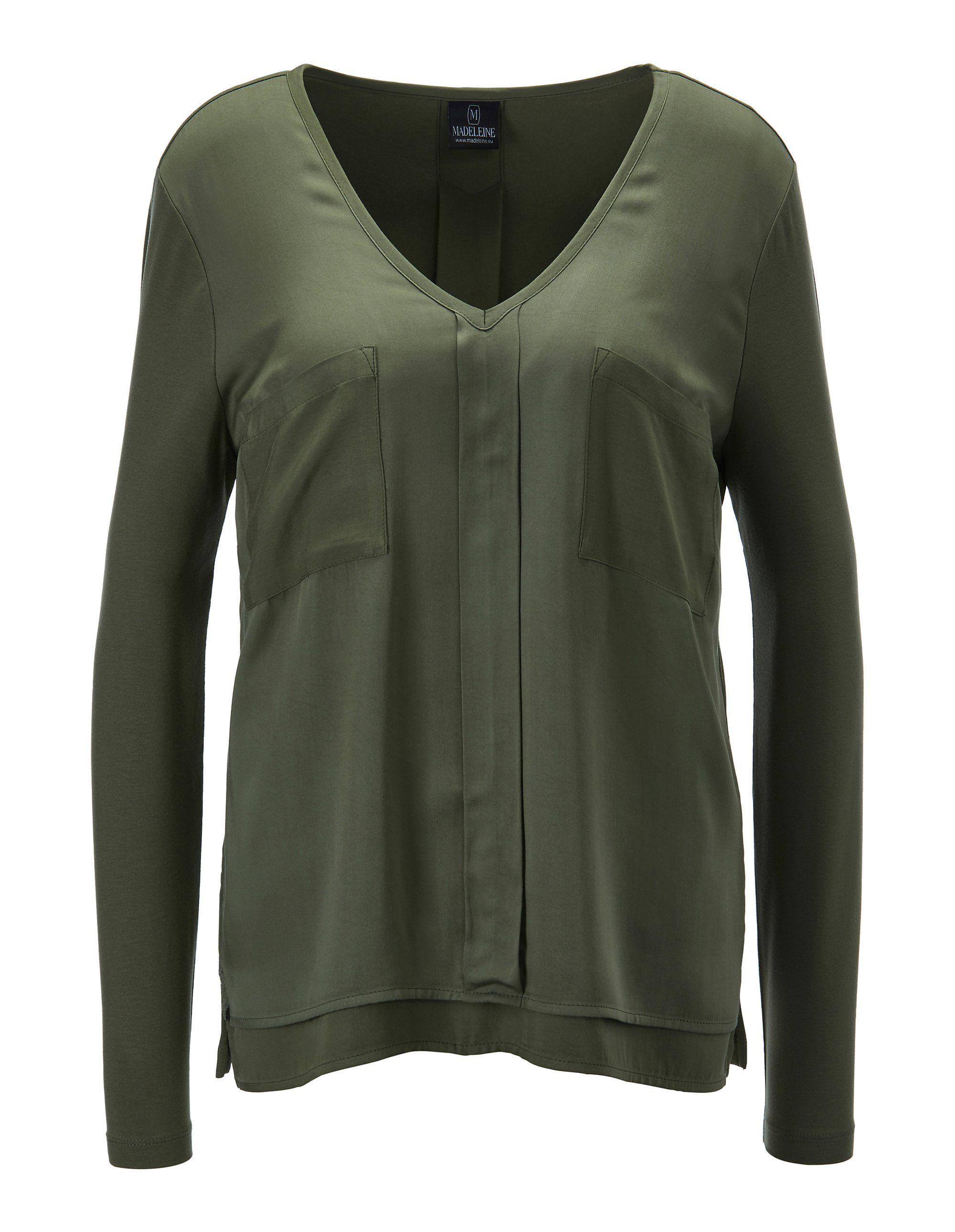 Bluse mit aufgesetzten Taschen in grün MADELEINE Gr 34, khaki für Damen. Viskose. Waschbar