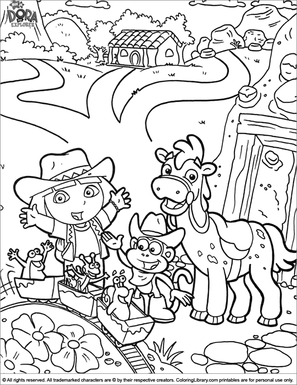Dora The Explorer Coloring With A Cut Horse And Cowboy Scenery