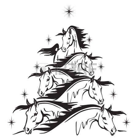 Stock Vector | Christmas tree stencil, Christmas horses, Christmas tree drawing