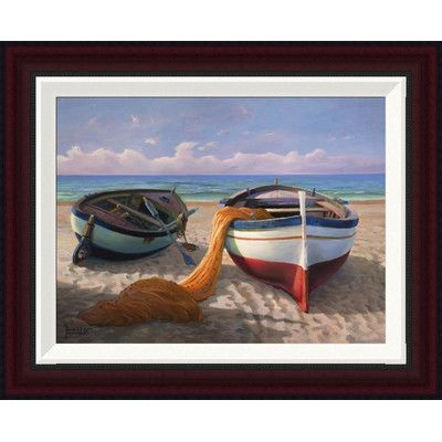 Global Gallery 'Barche Sulla Spiaggia' by Adriano Galasso Framed Painting Print on Canvas Size: