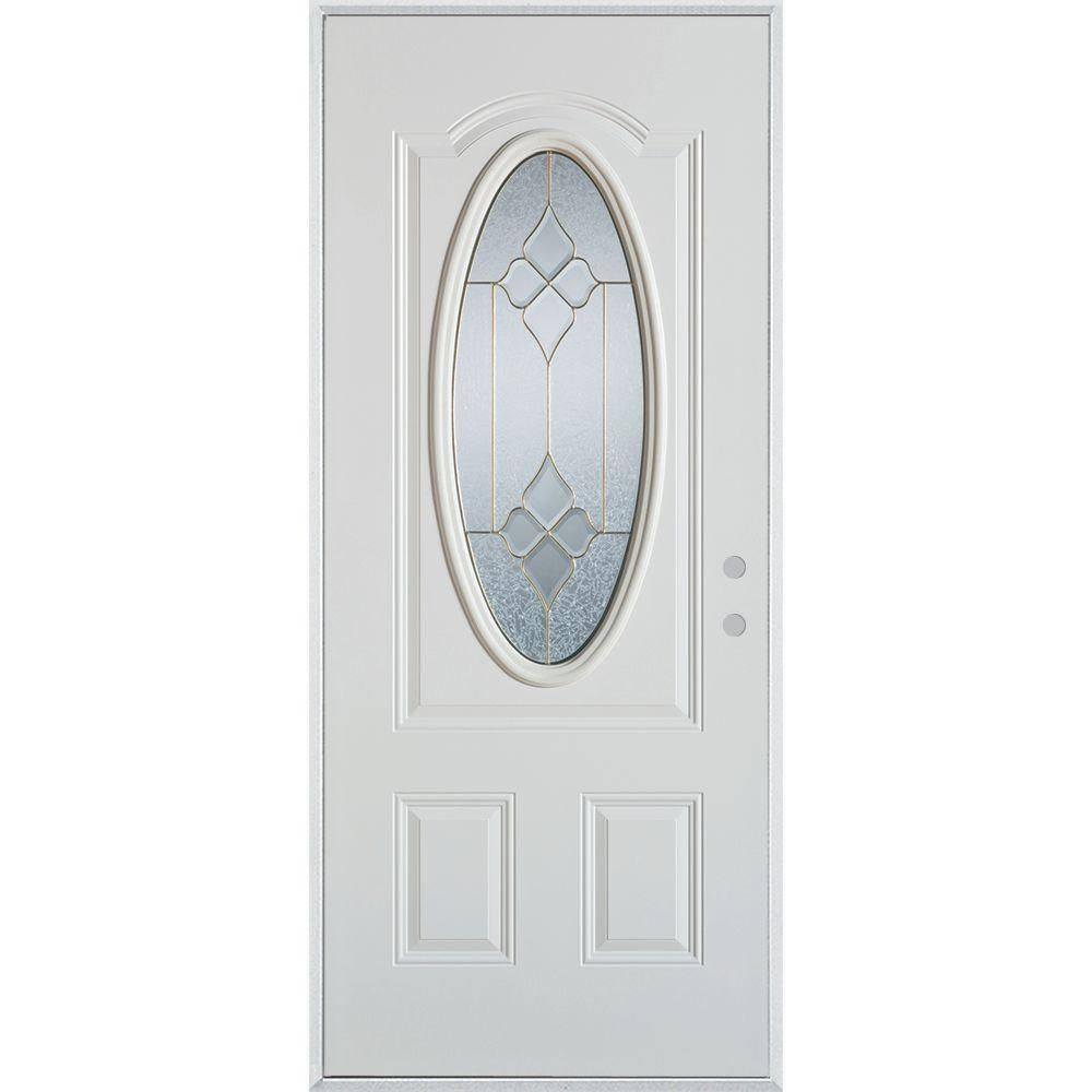 Stanley Doors 36 in. x 80 in. Geometric Brass 3/4 Oval Lite 2-Panel Painted White Left-Hand Inswing Steel Prehung Front Door, White/Brass Glass Caming Finish