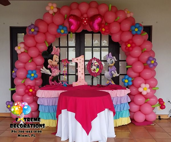Party Decorations Miami Balloon Sculptures Minnie Birthday Party Minnie Mouse Party Decorations Kids Party Decorations