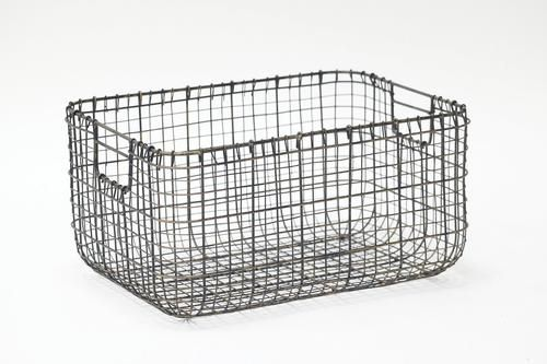 Rgi Home Large Antique Black Metal Rectangular Basket