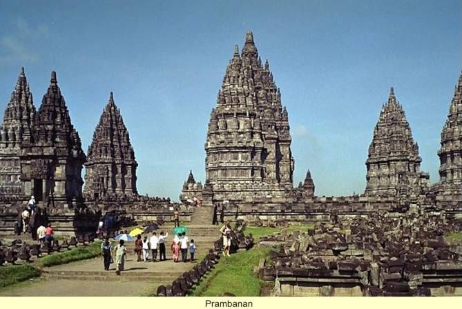 """Ancient Kingdoms of Indonesia - Ancient Man and His First CivilizationsAt Prambanan, on the Island of Sumatra. It is said that it was a king named """"Dhaksa"""" of the Mendang-Mataram kingdom, who in the 10th century A.D. built the largest Siva temple in Indonesia the """"Lara Jonggrang"""" meaning Slender Maiden. This name was affectionately given to a large statue of the Hindu goddess Durga (wife of Shiva), which stands in the temple. Local legend has it.."""