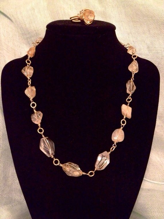 Warm Yellow...Boho wire wrapped stone necklace set. Ring included. on Etsy, $65.00