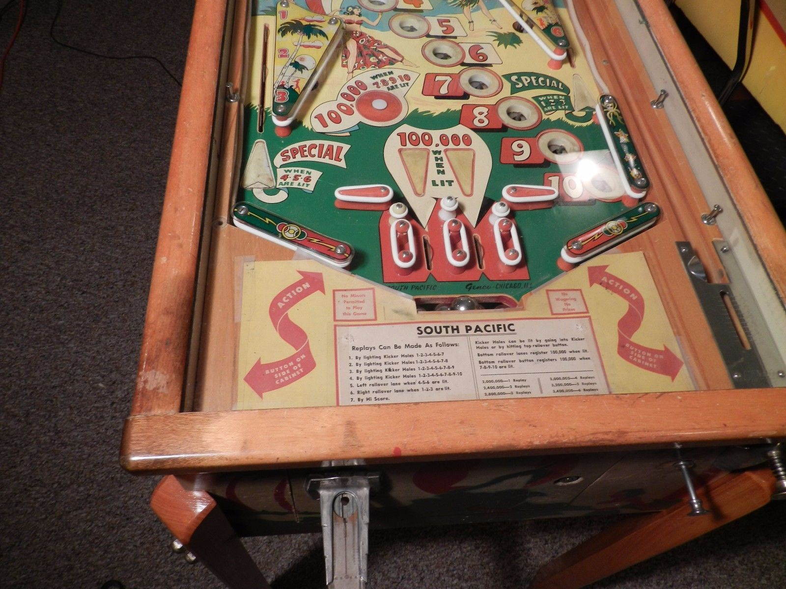 GENCO South Pacific Pinball Machine 1950 Woodrail eBay