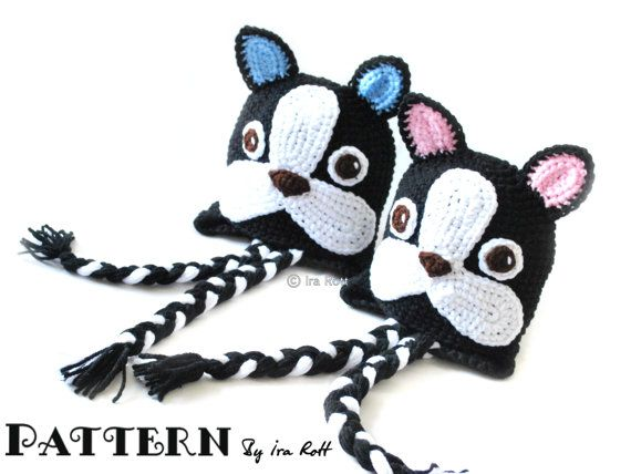 733ea483999 Oscar The French Bulldog Hat Crochet PDF Pattern. French BulldogsBoston  TerrierHat ...