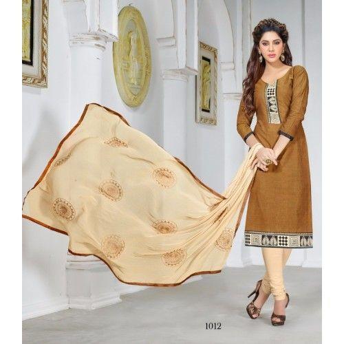 Fancy Brown color Cotton Printed designer Unstitched Salwar Kameez Dress Material