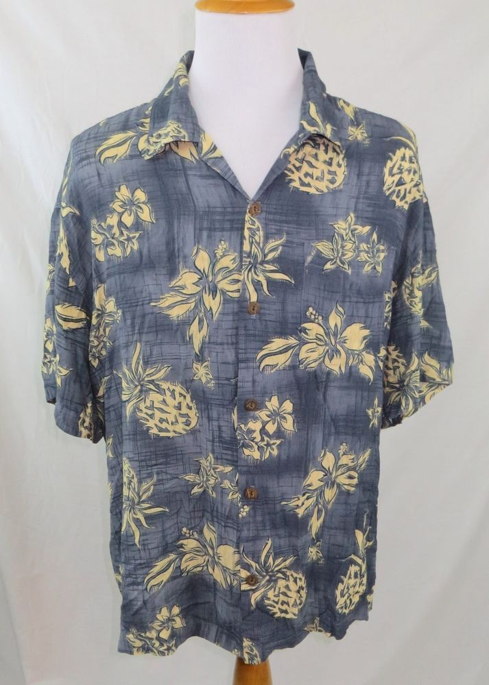d3693fc89 Toes On The Nose Men's Hawaiian Shirt Size Large L Blue Pineapple Coconut  Button #ToesontheNose #Hawaiian