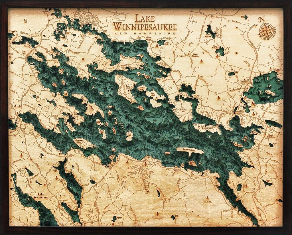 map of lake winnisquam nh Lake Winnipesaukee Wood Carved Topographic Depth Chart Map map of lake winnisquam nh