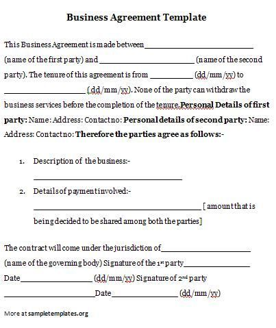 Business Agreement Business Agreement Template  Forms