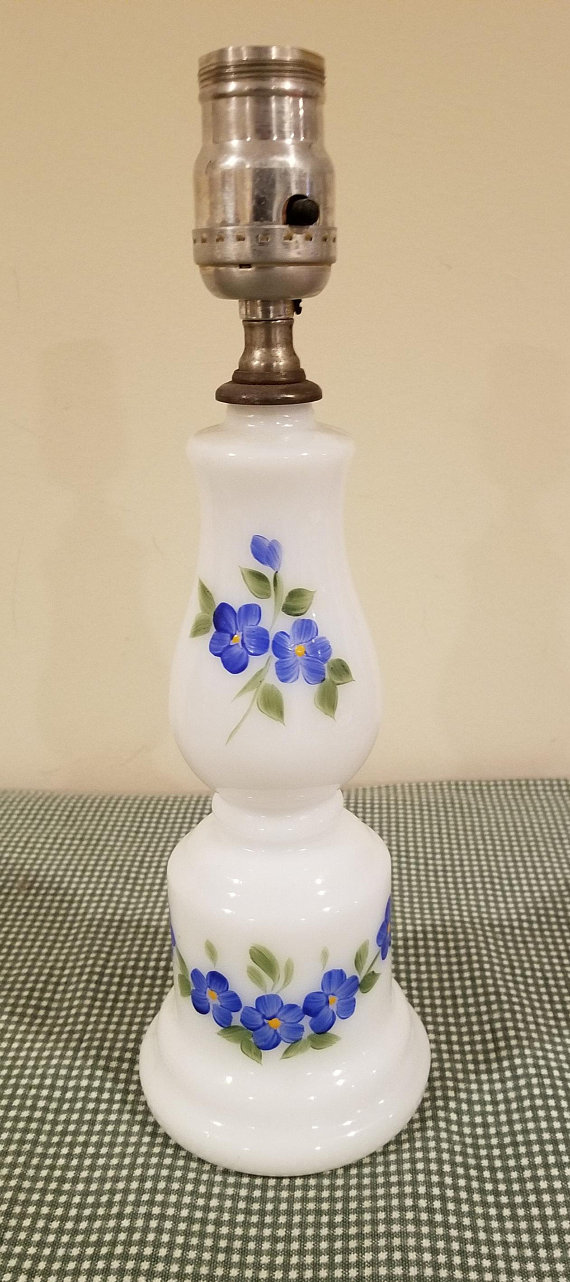 Vintage White Milk Glass Blue Green Floral Hand Painted Electric