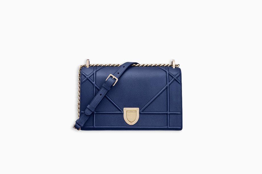 3dc7f704780a DIORAMA BAG IN BLUE GRAINED CALFSKIN - Diorama Dior