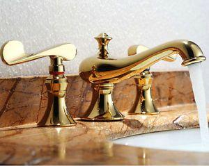 Euro Style Gold Plate Bathroom Sink Faucet 3pcs Antique Dual